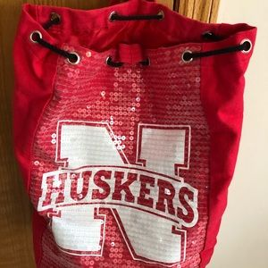 Nebraska Cornhuskers backpack tote bag sequins